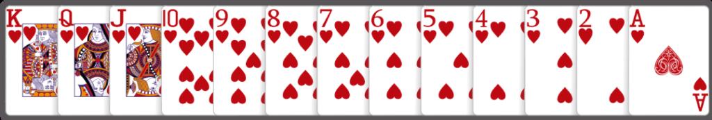 Mochelen Kaartspel alle kaarten op rangorde